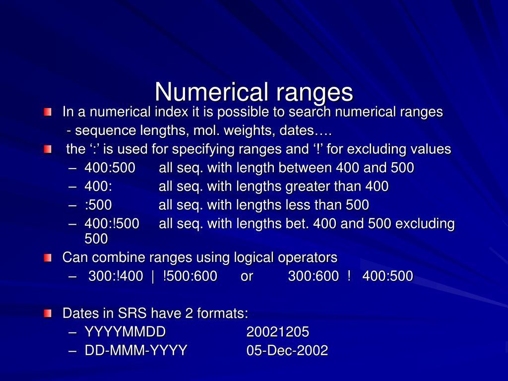 Numerical ranges