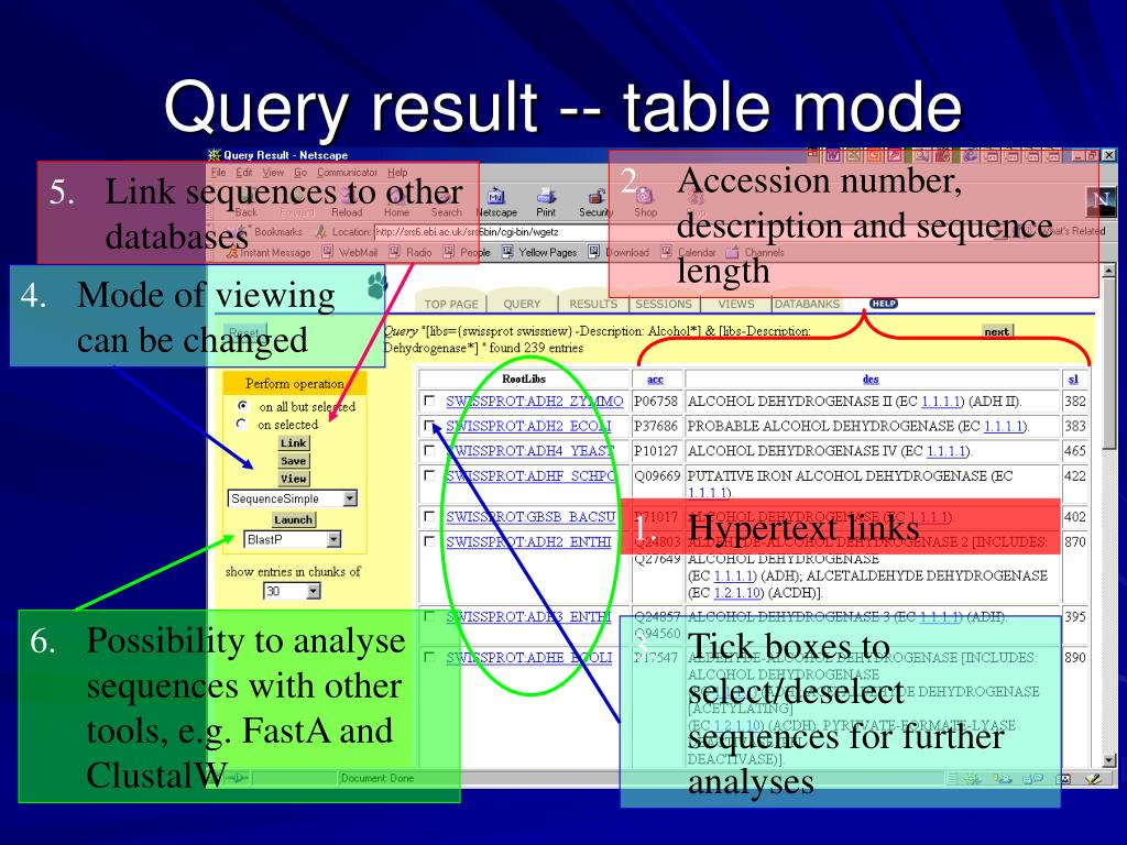 Query result -- table mode
