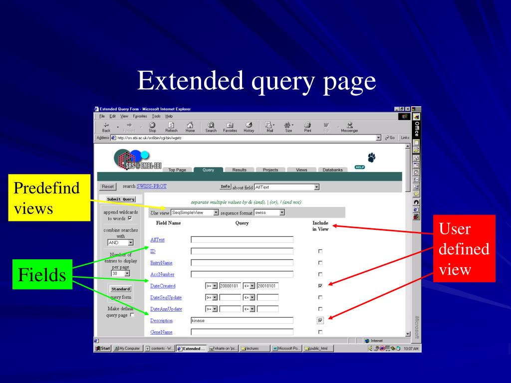 Extended query page
