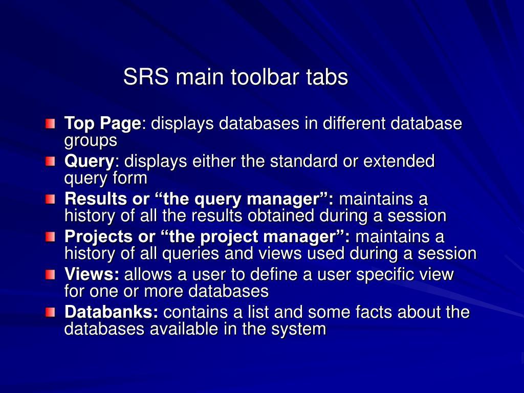 SRS main toolbar tabs
