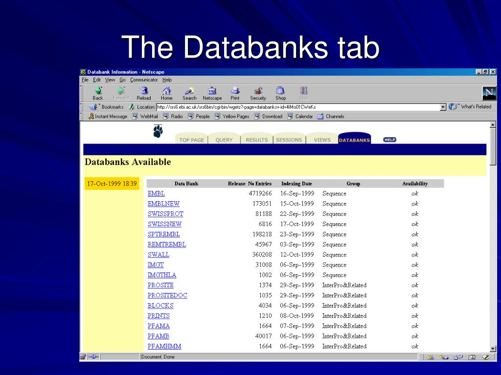 The Databanks tab