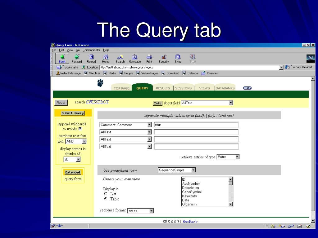 The Query tab