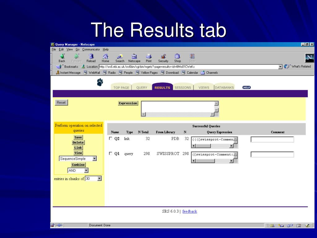 The Results tab