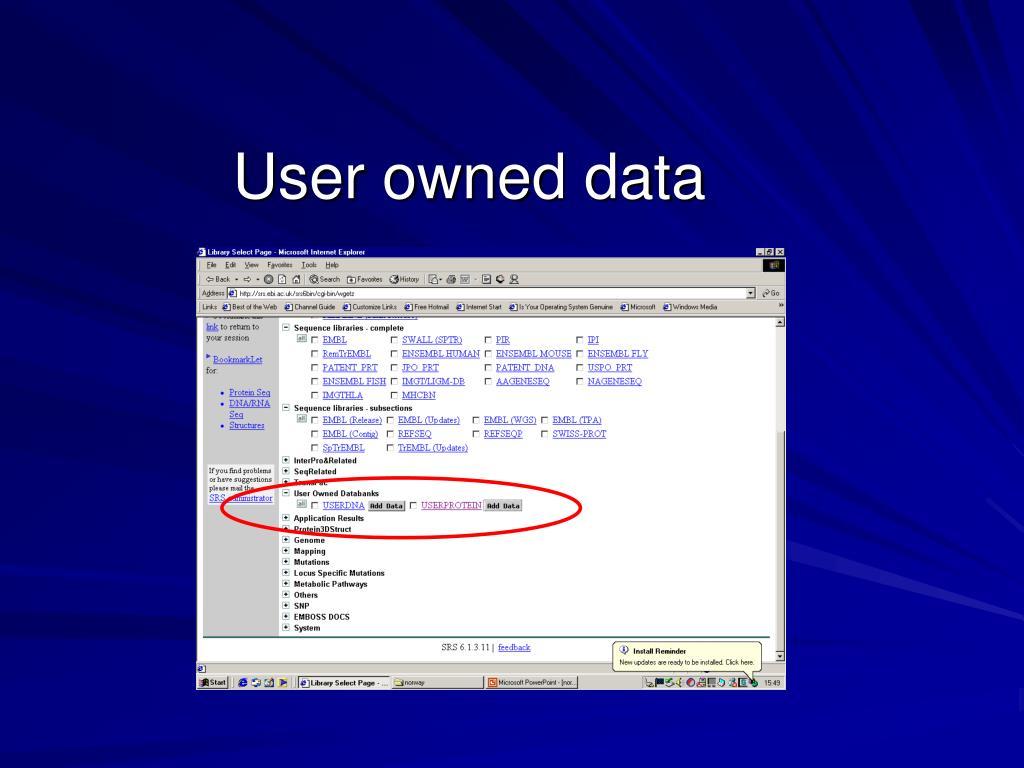 User owned data
