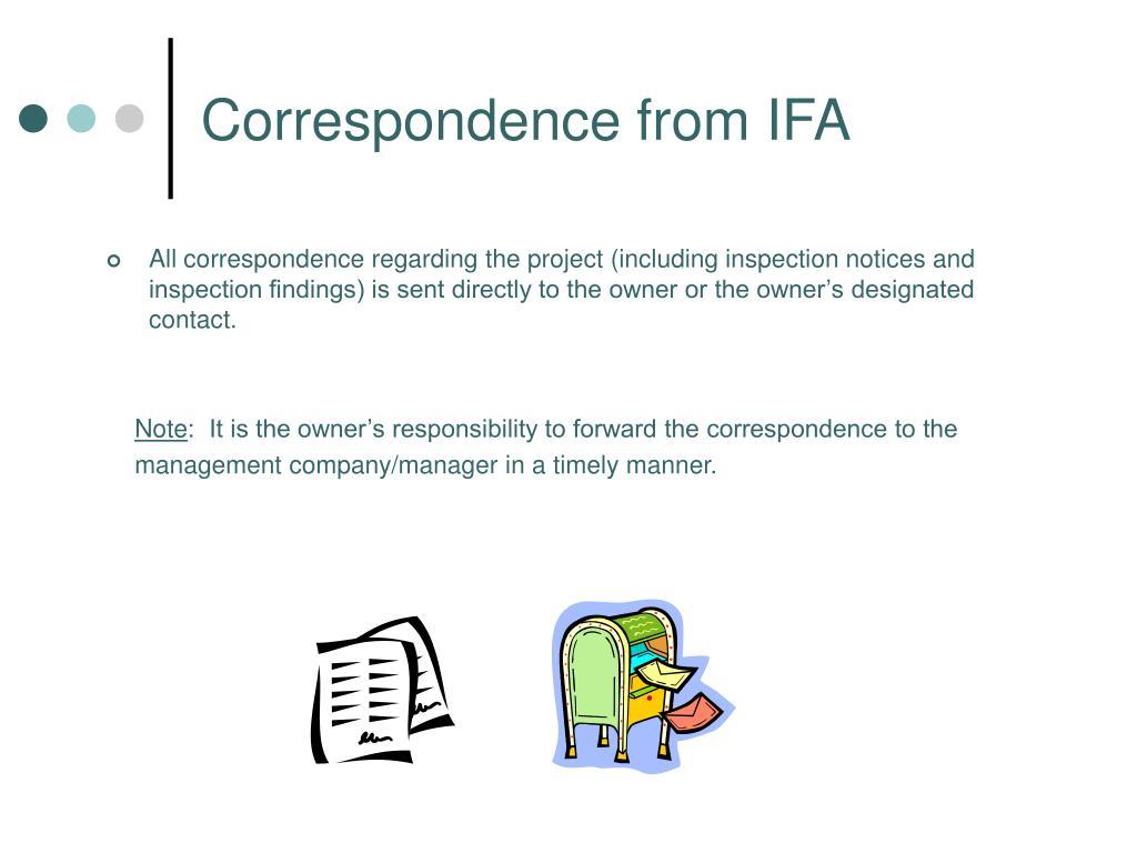 Correspondence from IFA