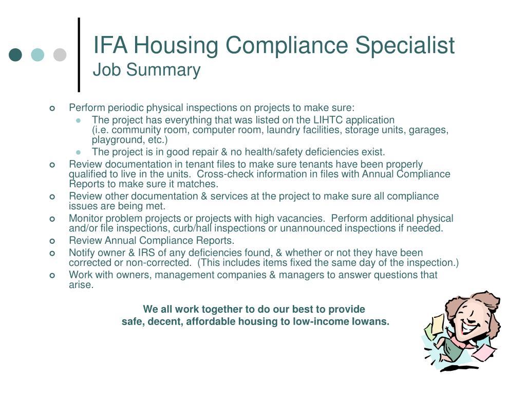 IFA Housing Compliance Specialist