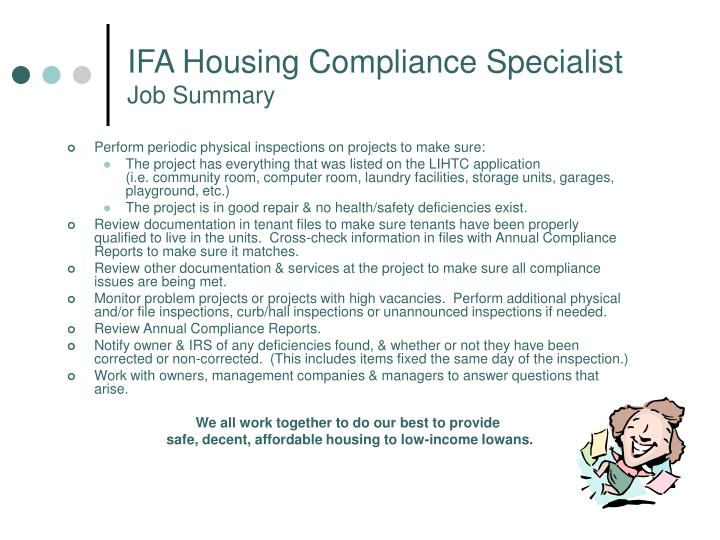 Ifa housing compliance specialist job summary