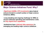 major science initiatives fund why