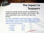the impact to taxpayers