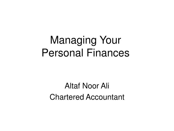 managing your personal finances n.