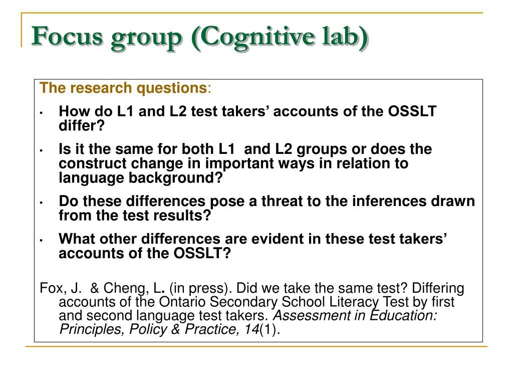 Focus group (Cognitive lab)