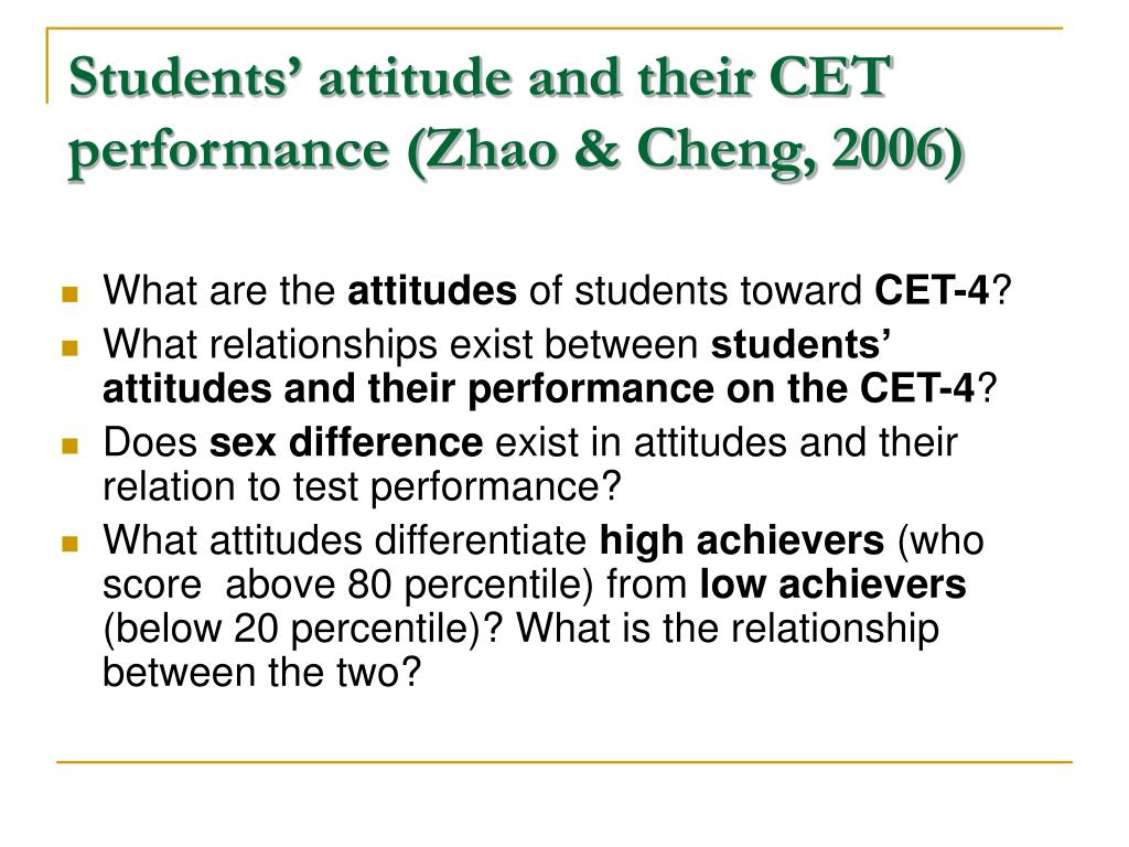Students' attitude and their CET performance (Zhao & Cheng, 2006)