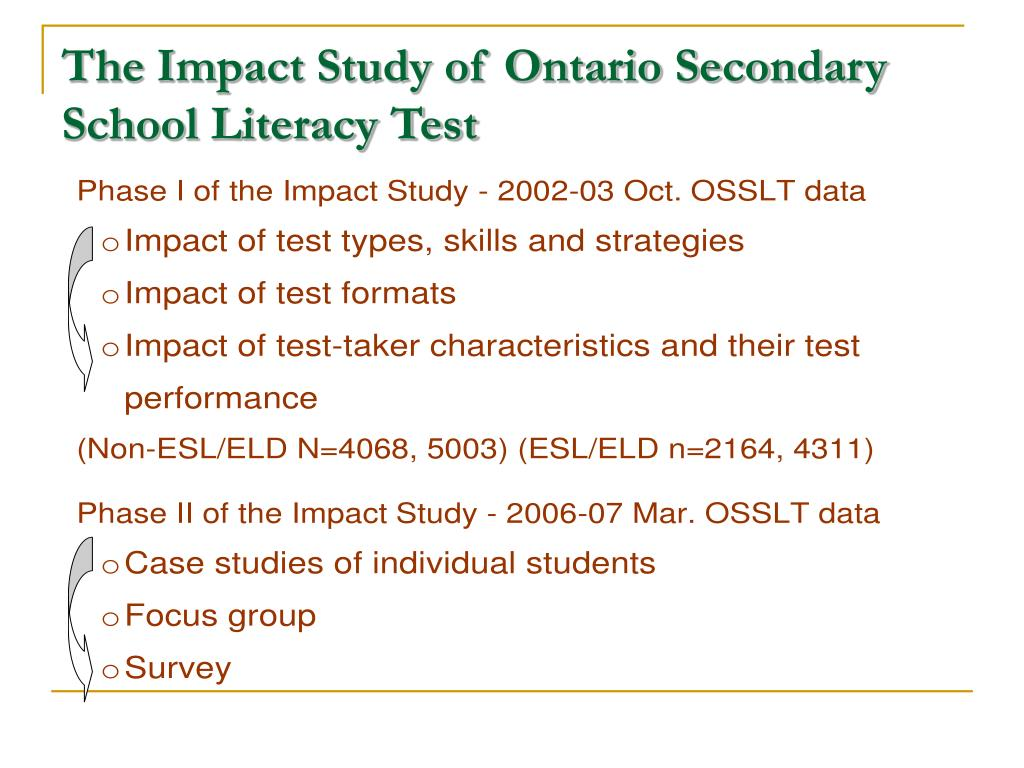 The Impact Study of Ontario Secondary School Literacy Test