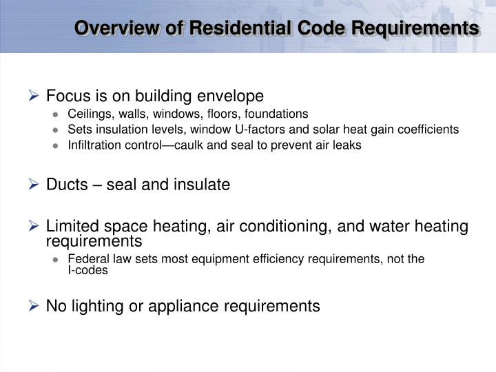Overview of residential code requirements