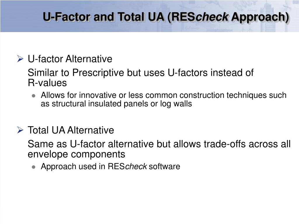 U-Factor and Total UA (RES