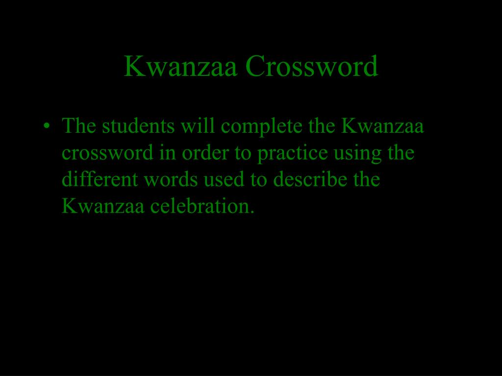 Kwanzaa Crossword