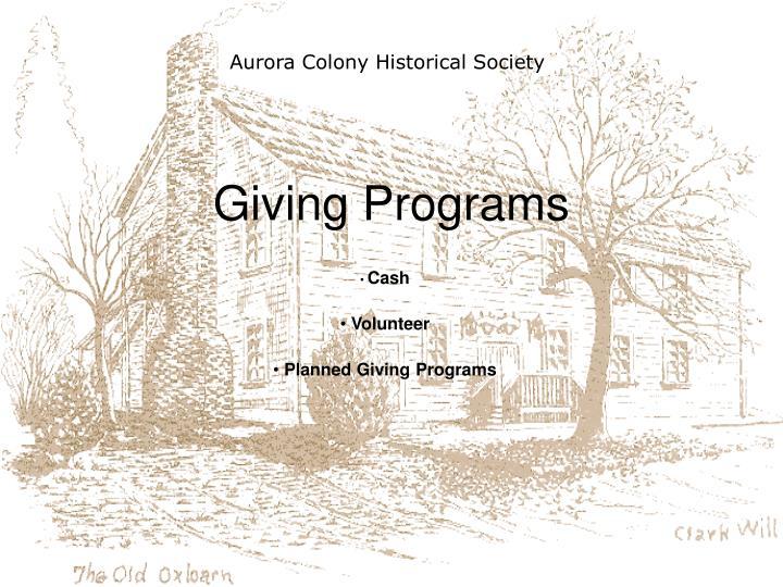 Giving programs