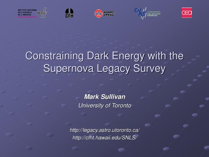 Constraining dark energy with the supernova legacy survey