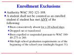 enrollment exclusions