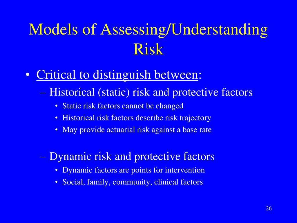 Models of Assessing/Understanding Risk