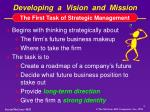 developing a vision and mission
