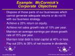 example mccormick s corporate objectives