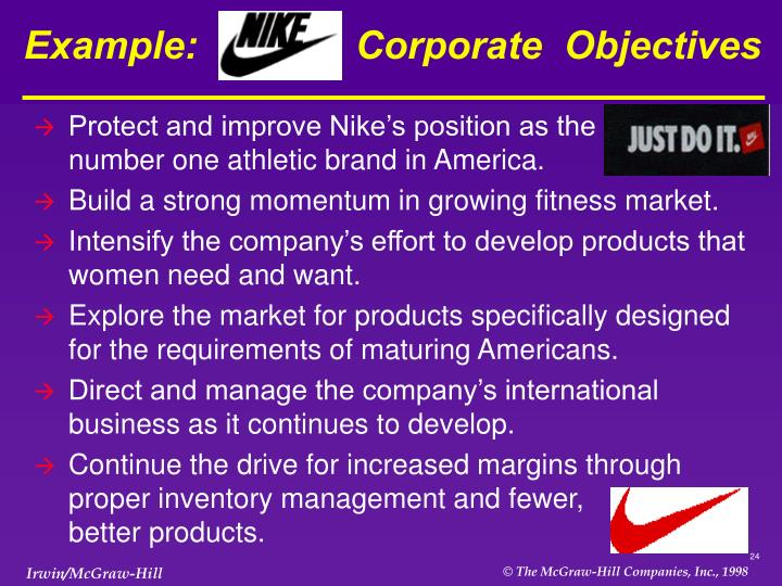 Example:  Nike's  Corporate  Objectives