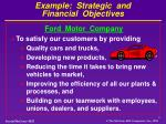 example strategic and financial objectives
