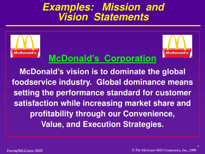 Examples:   Mission  and