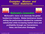 examples mission and vision statements