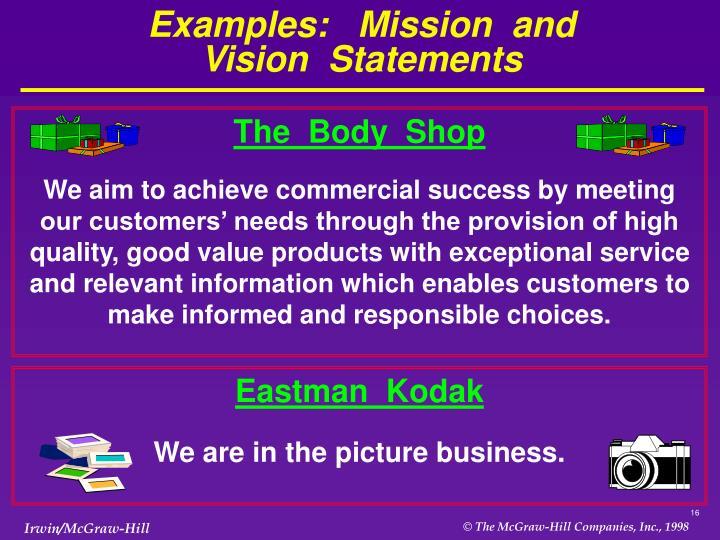 eastman kodak mission and value statement