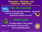 examples strategic and financial objectives