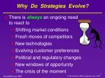 why do strategies evolve