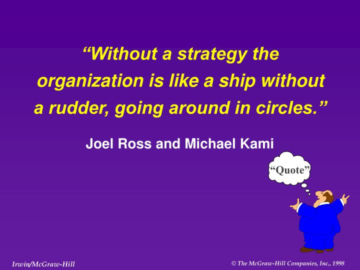 Without a strategy the organization is like a ship without a rudder going around in circles