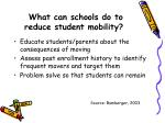 what can schools do to reduce student mobility