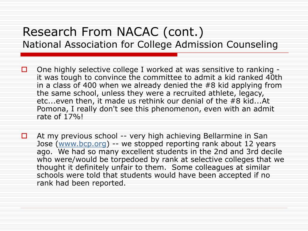 Research From NACAC (cont.)