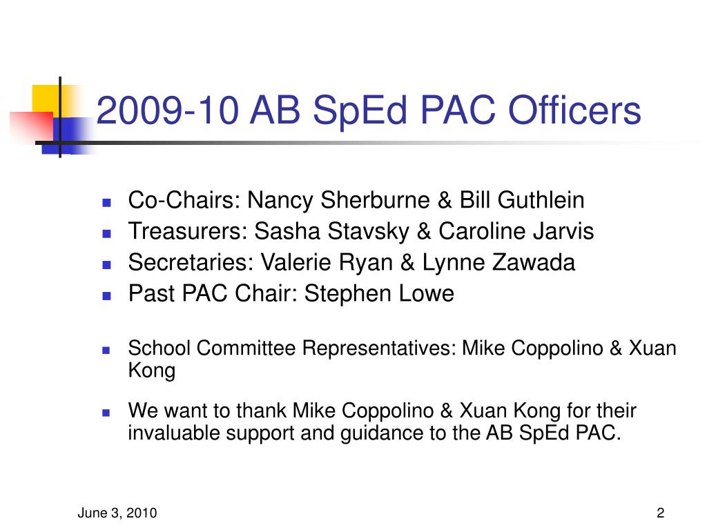 2009-10 AB SpEd PAC Officers