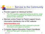 goal 1 service to the community