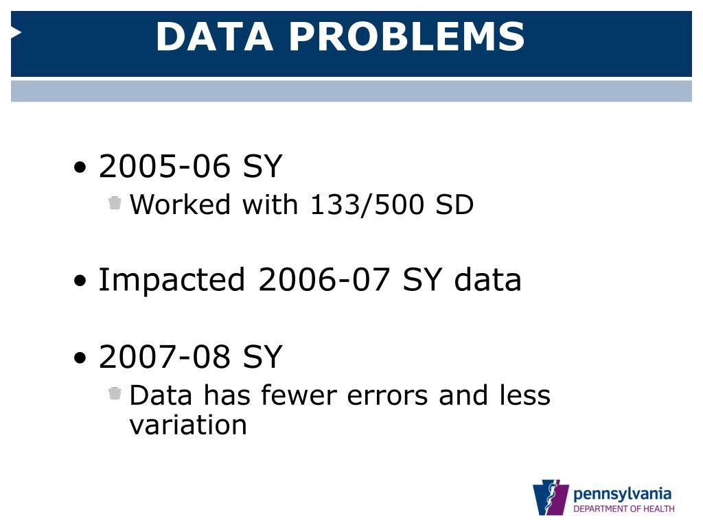 DATA PROBLEMS