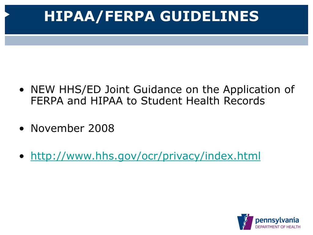 HIPAA/FERPA GUIDELINES