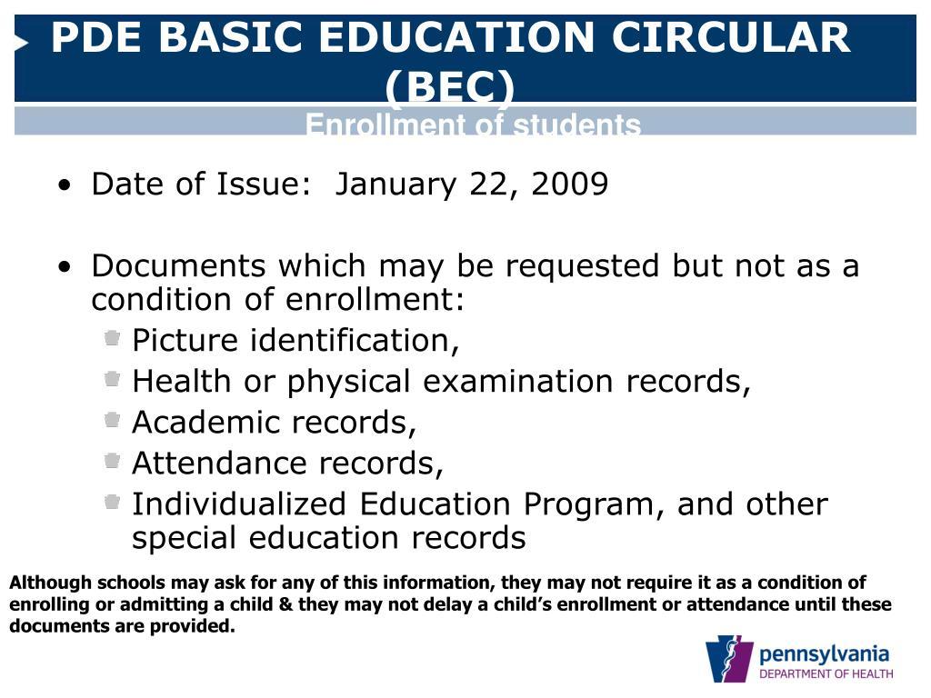 PDE BASIC EDUCATION CIRCULAR (BEC)