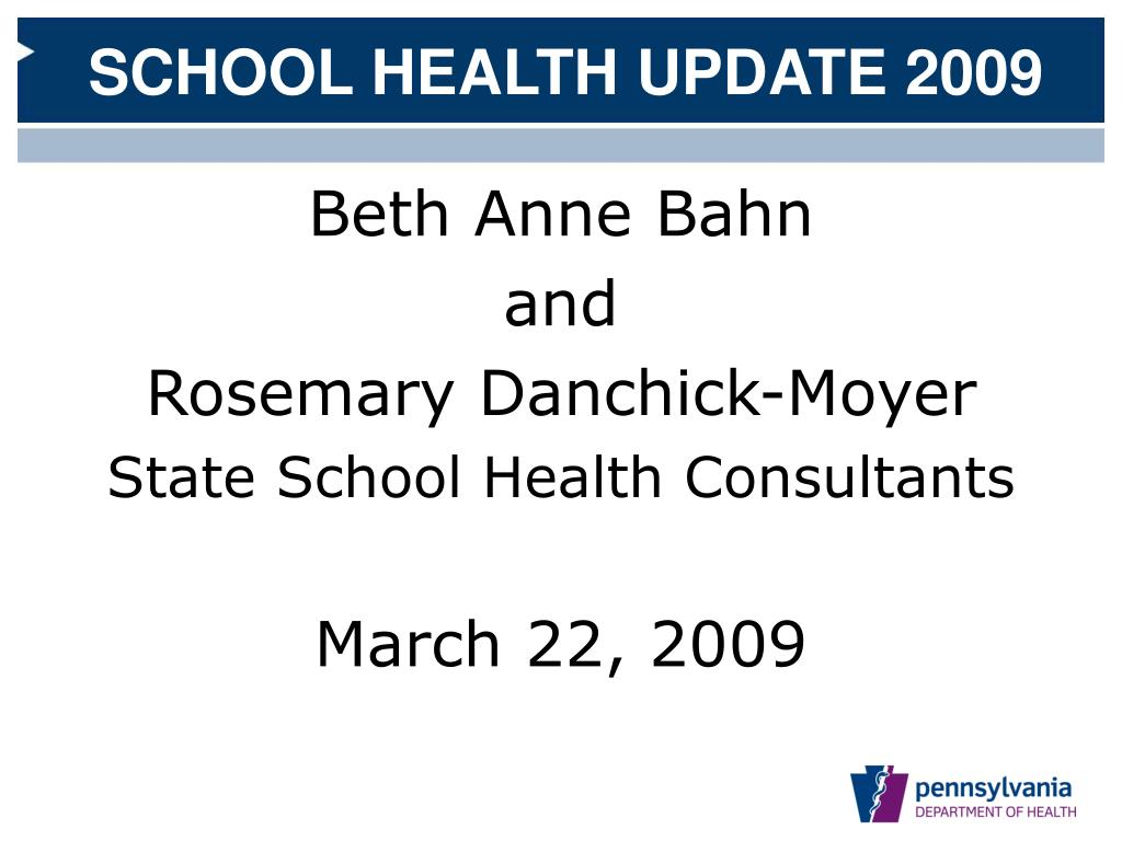 pennsylvania department of health division of school health l.