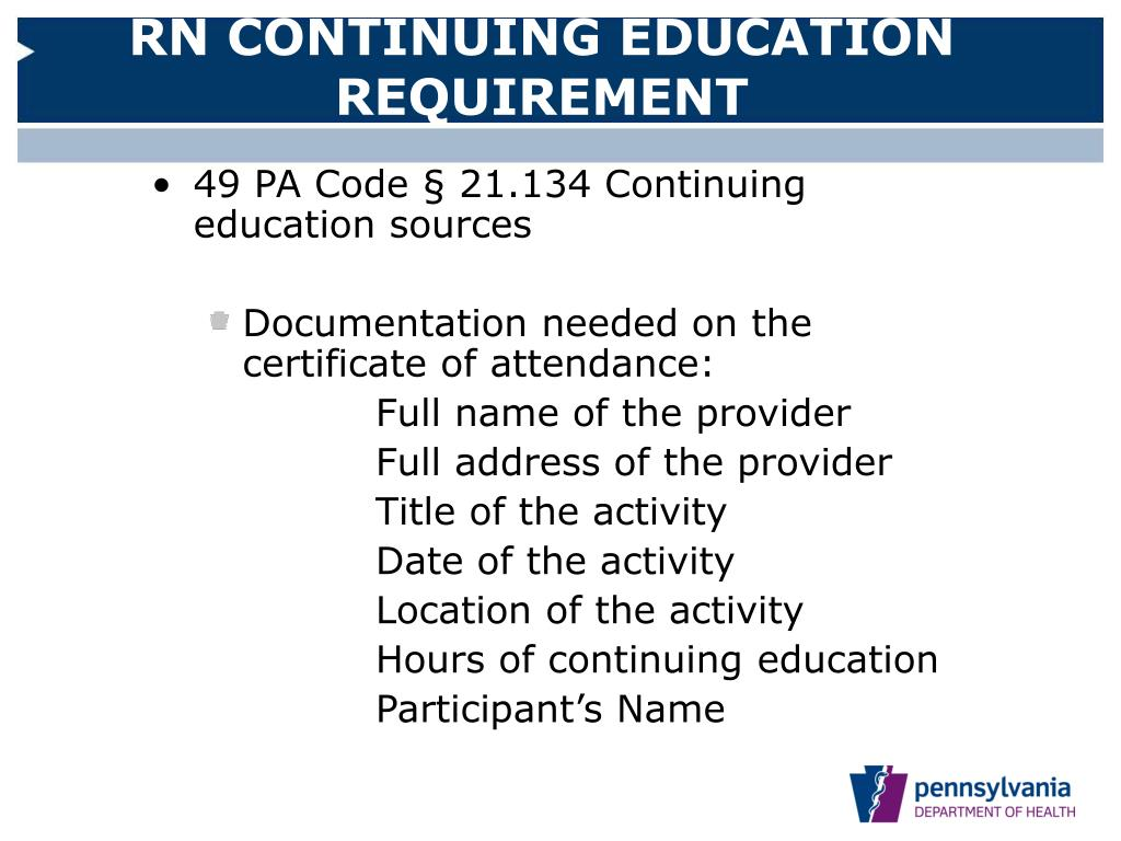 RN CONTINUING EDUCATION REQUIREMENT