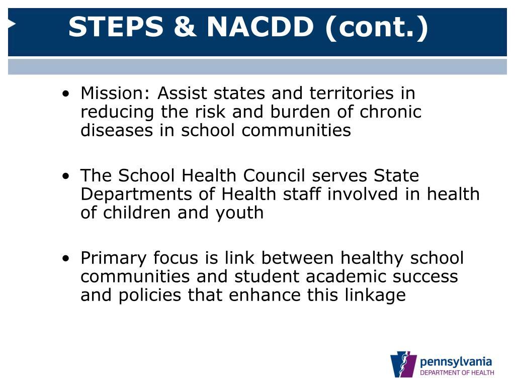 STEPS & NACDD (cont.)