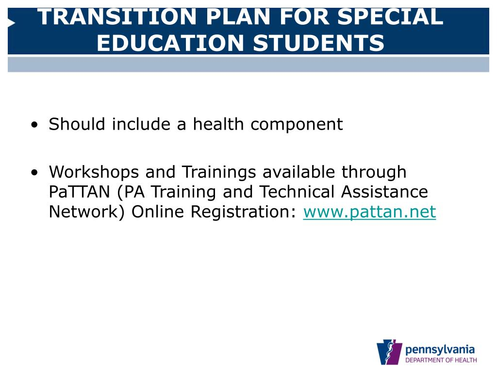 TRANSITION PLAN FOR SPECIAL EDUCATION STUDENTS