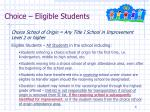 choice eligible students