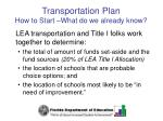 transportation plan how to start what do we already know