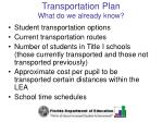 transportation plan what do we already know
