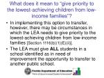 what does it mean to give priority to the lowest achieving children from low income families