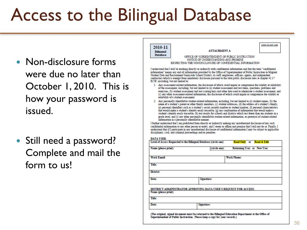 Access to the Bilingual Database